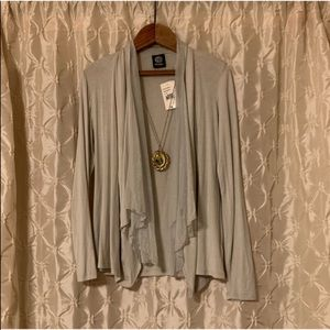 Bobeau NWT silver gray open drape front cardigan